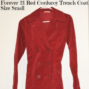 Forever21 Red Corduroy Trench Coat Small